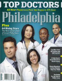 Dr. Clarisa Gracia, featured on the cover (lower-center) of the magazine, was voted one of the top doctors under 40 in the area for her work in oncofertility.